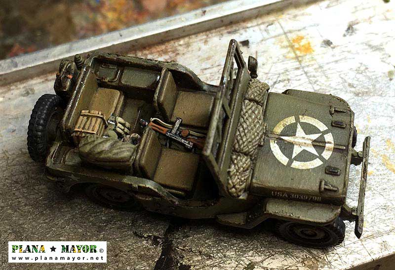 Detalle del Jeep Willys MB de mando - vista superior
