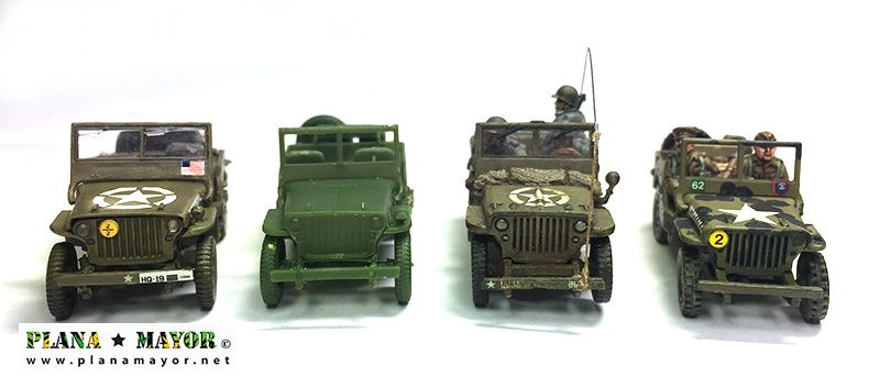 Comparativa Jeep Willys MB, vista frontal